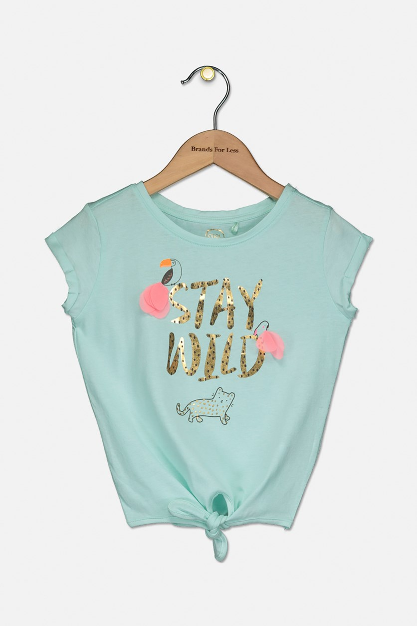 Kids Girls Graphic Top, Turquoise