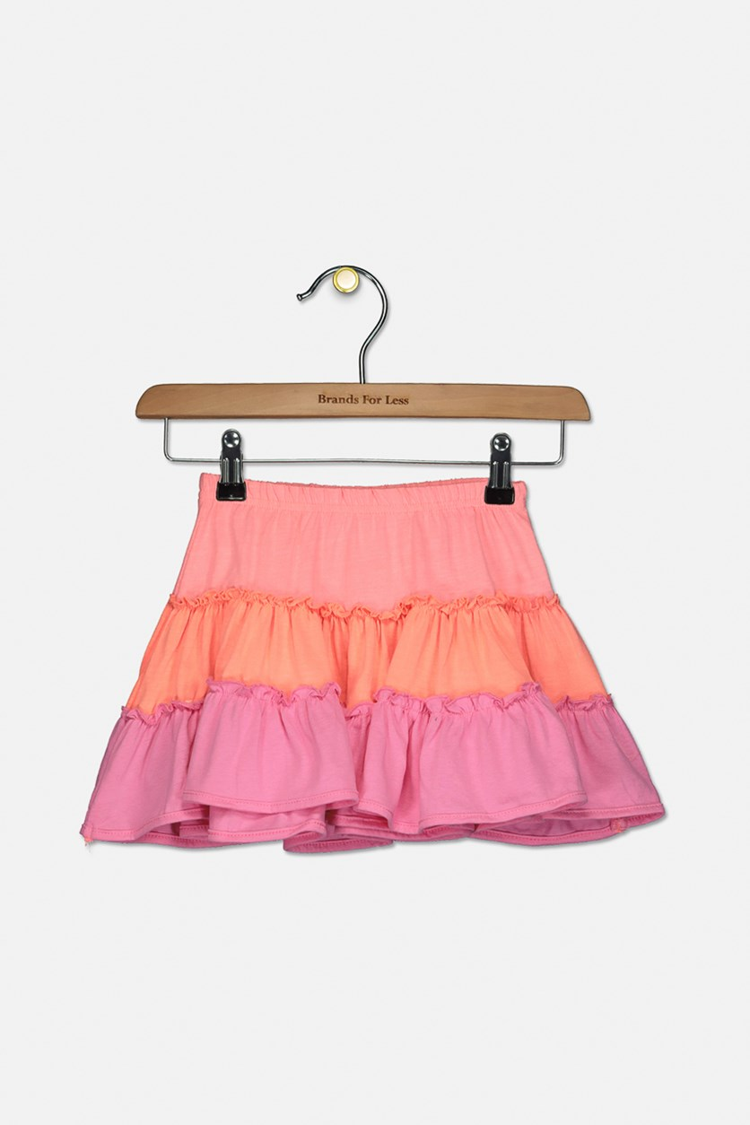 Toddlers Girl's  Pull-On Skirt, Orange/Coral/Pink