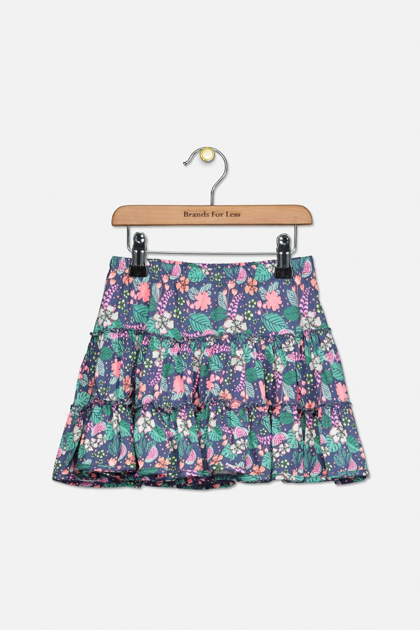 Toddlers Girls Pull On Skirt, Turquoise/Lavender/Pink Combo