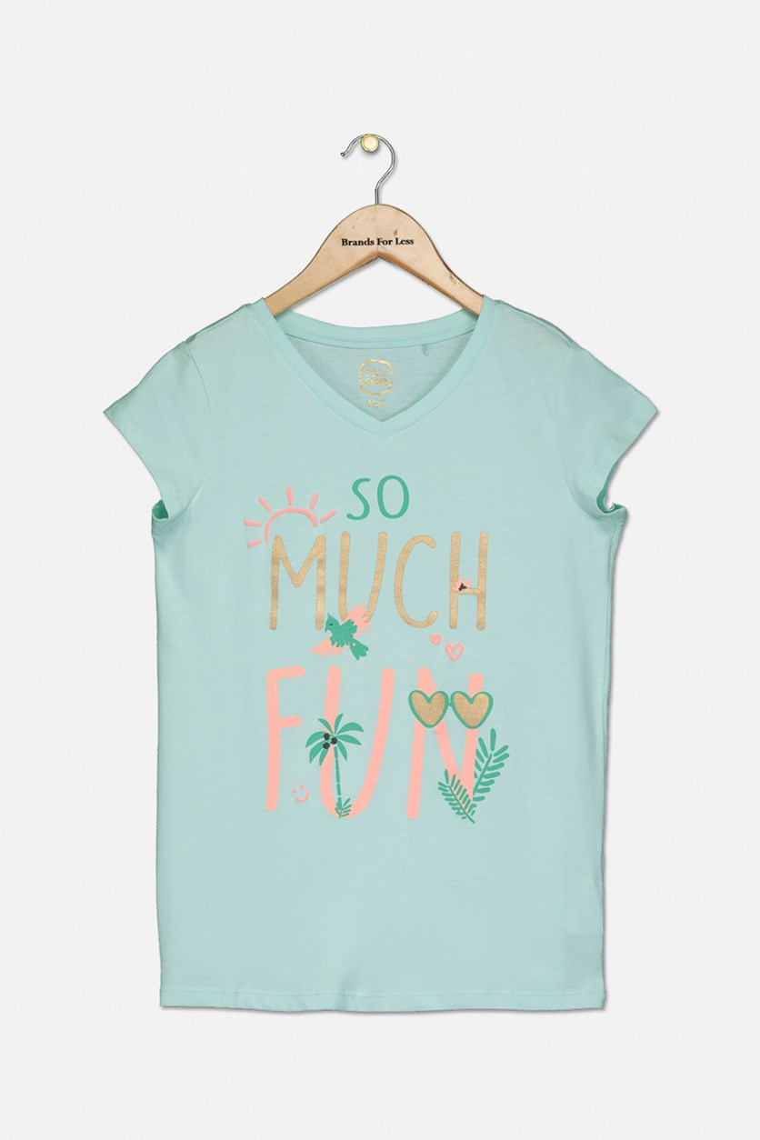 Girls So Much Fun Print Top, Aqua