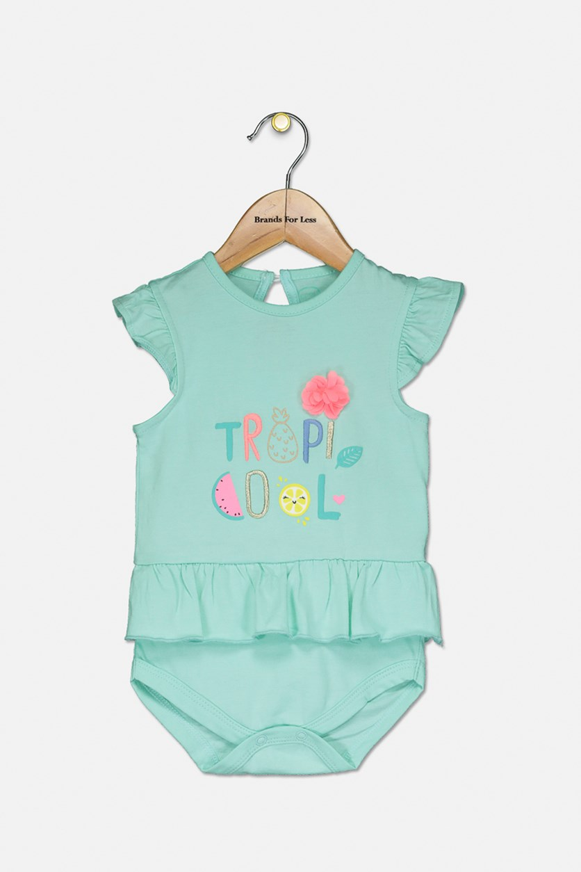 Toddler's Girls Embroidered Tropi Cool Bodysuit, Mint Green