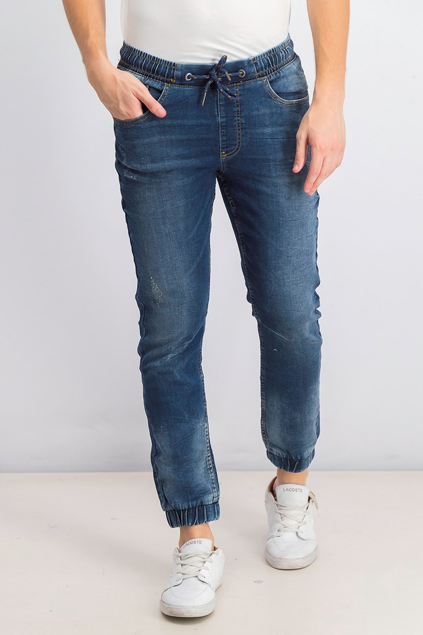 Mens Ripped Jogger Jeans, Navy Wash