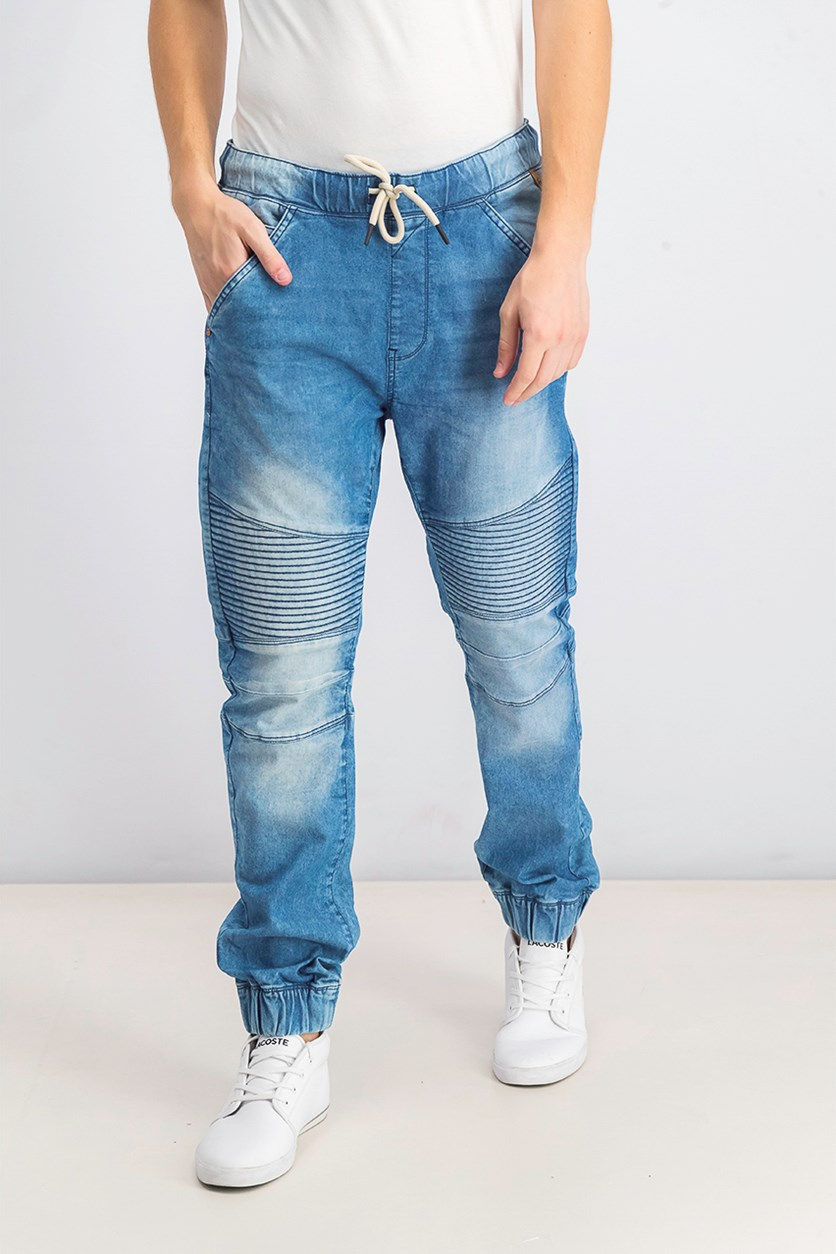 Mens Slim Jogger Jeans, Wash Blue