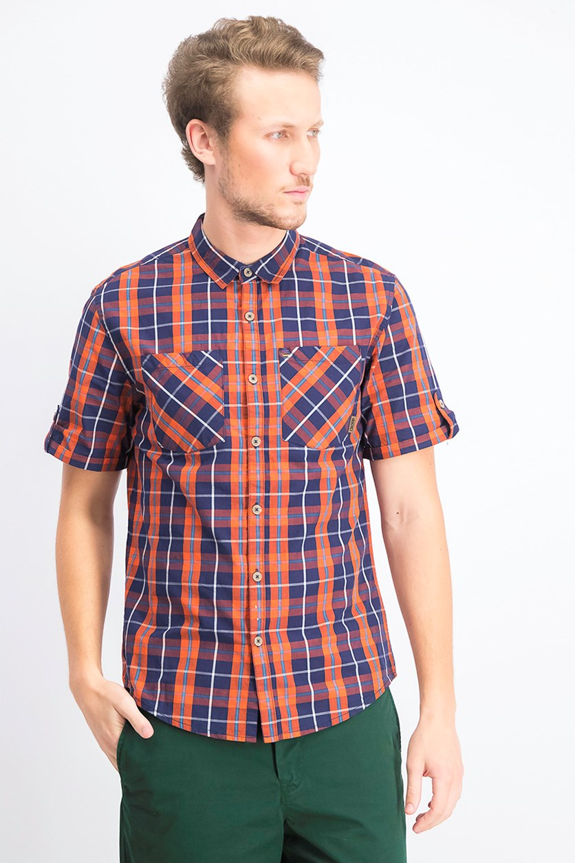 Mens Checkered Shirt, Orange /Navy