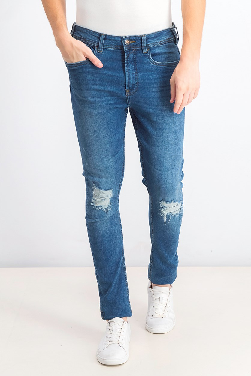 Mens Skinny Ripped Jeans, Wash Dark Blue