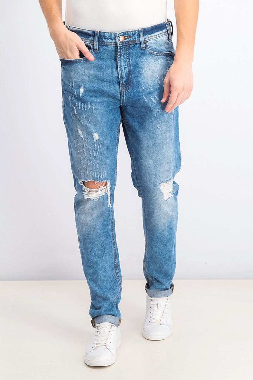 Mens Comfort Super Ripped Jeans, Wash Blue