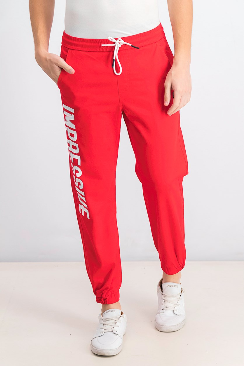 Mens Graphic Jogger Pants, Red