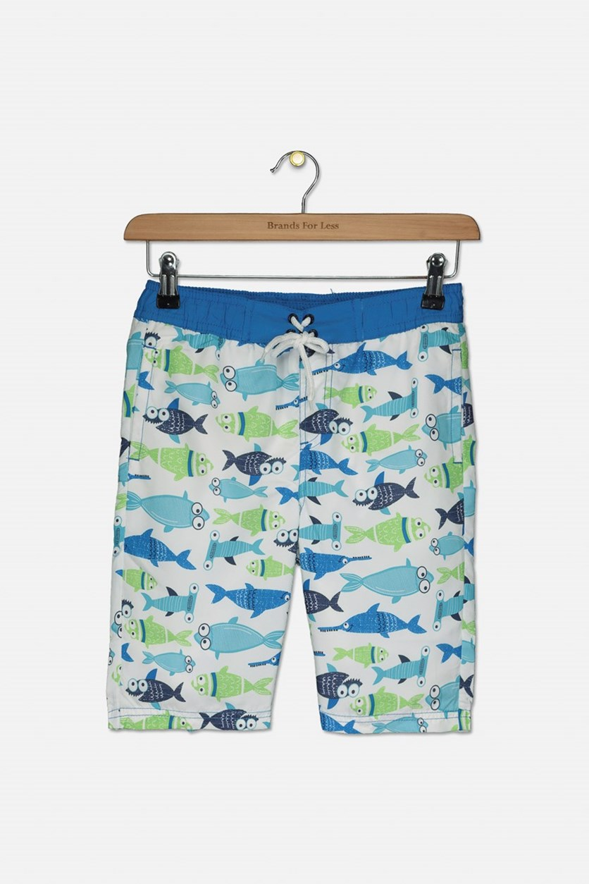 Toddler Boys Fish Print Short, White/Blue/Green