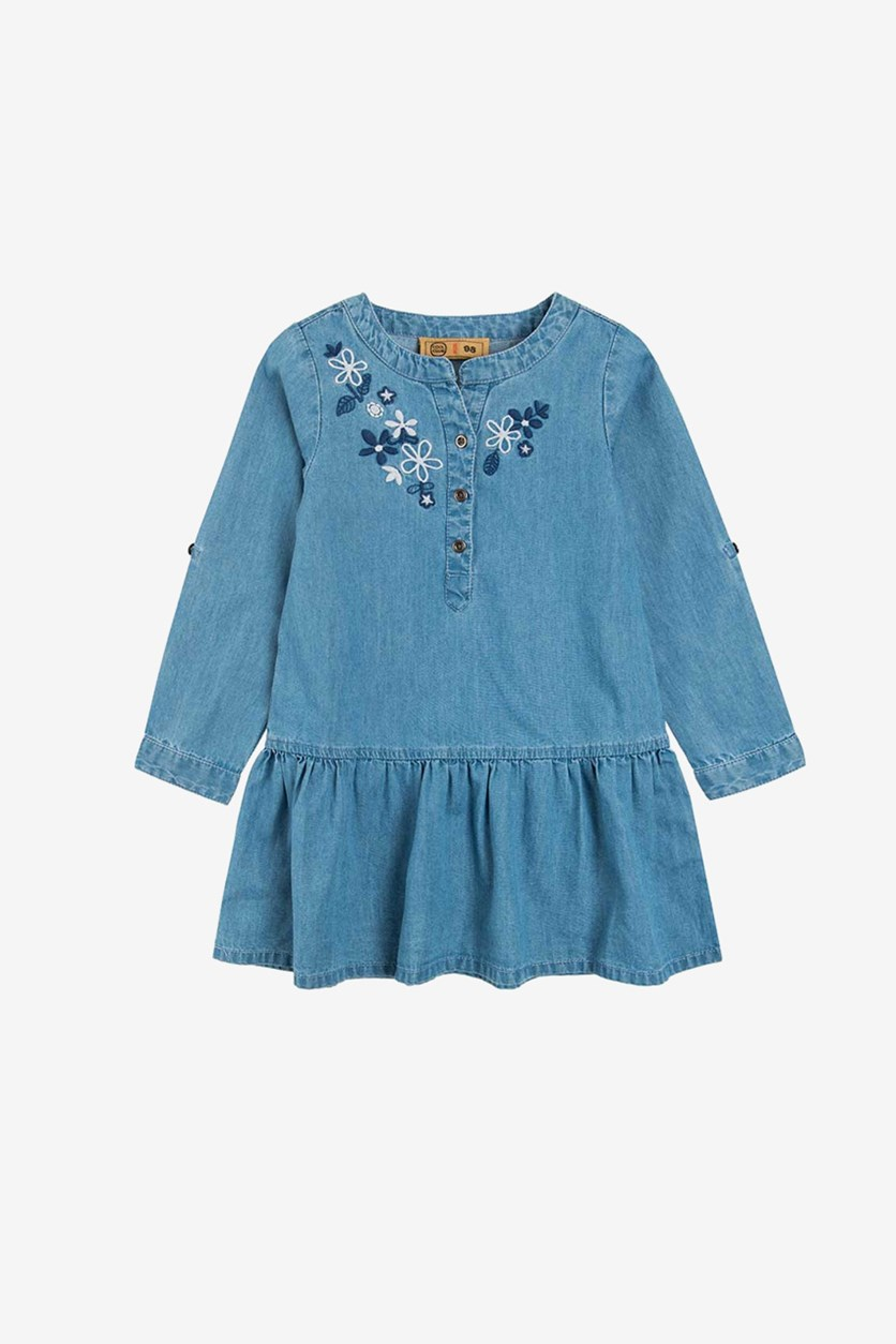 Toddler Girls Embroidered Long Sleeve Top, Chambray