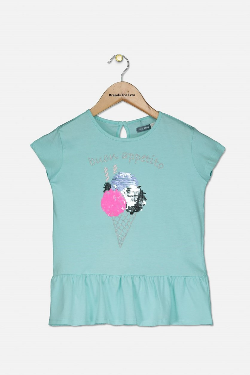 Little Girls Buon Appetito Top, Aqua Combo
