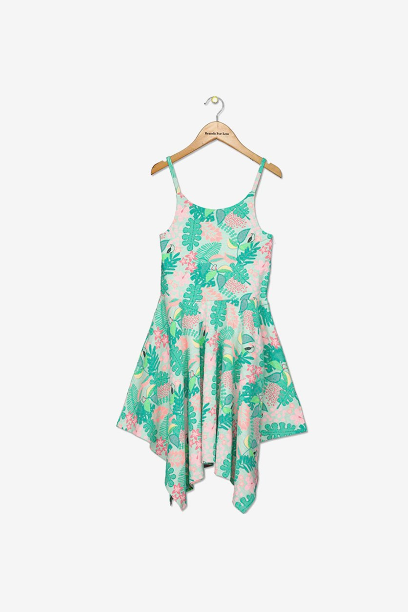 Toddler Girl's Fit and Flare Graphic Print Dress, Green