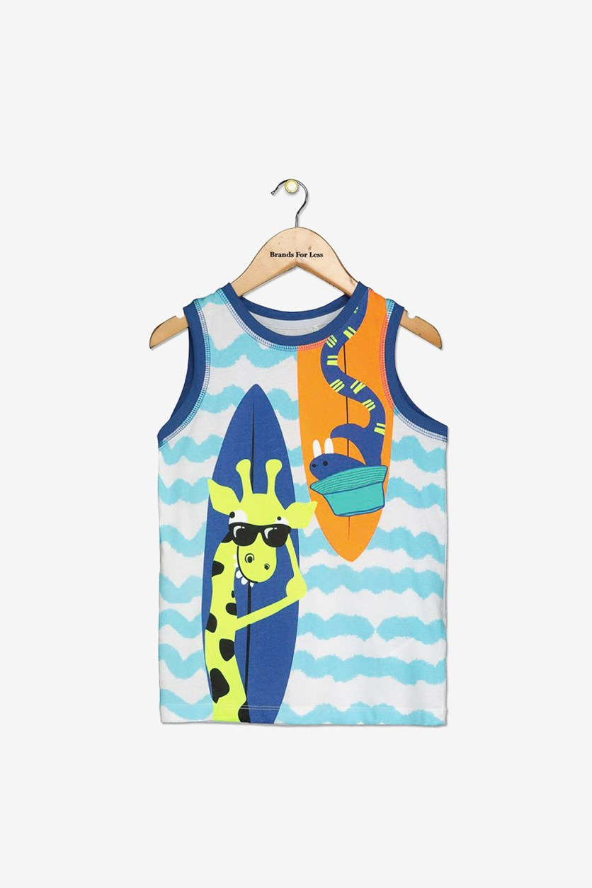 Toddler Boy's Graphic Printed Tank Top, Turquoise Combo