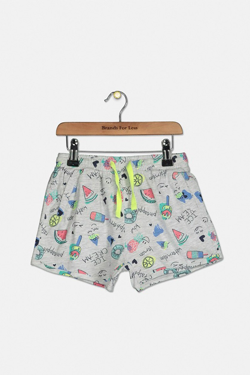 Toddler Girl's  Pull-On Drawstring Shorts, Grey