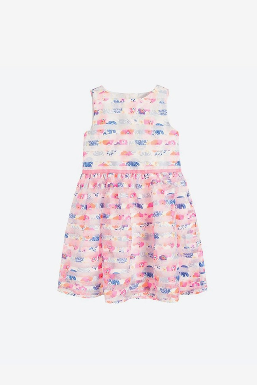 Girls Stripe Floral Print Sleeveless Dress, Pink Combo