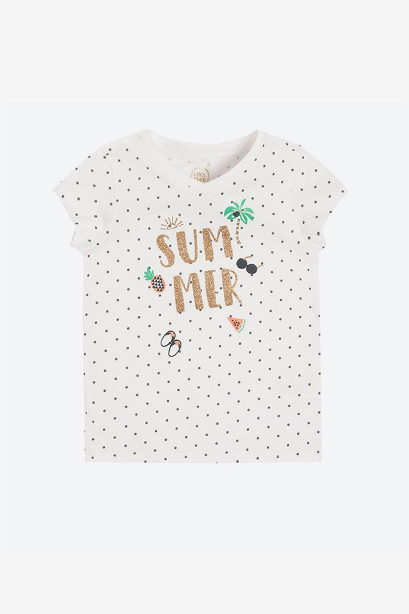 Little Girls Polka Dots V Neck Tops, White Combo