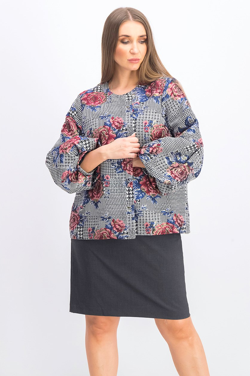 Women's Floral Bubble Sleeve Top,  Houndstooth/Floral