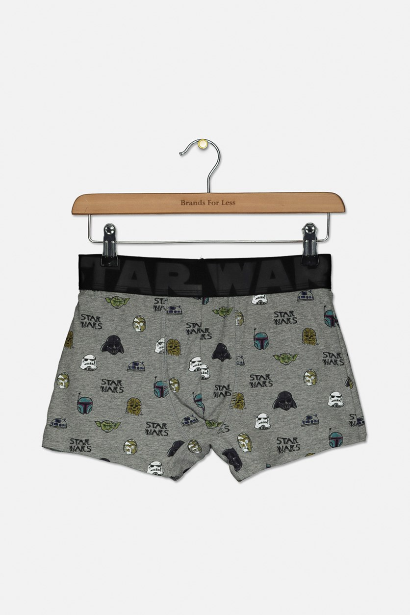 Men's Graphic Print Boxer, Middle Grey Combo