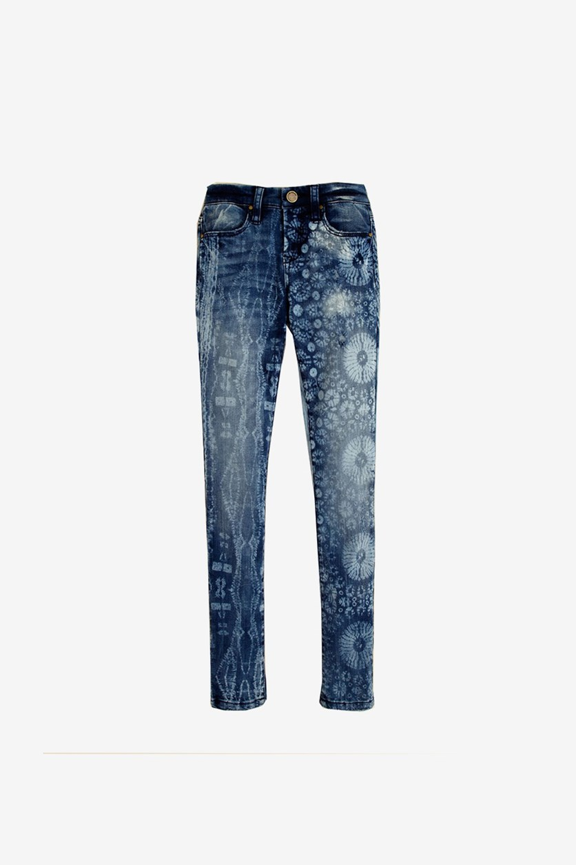 Kid Girl's Four Pocket Skinny Jeans, Light Acid Wash
