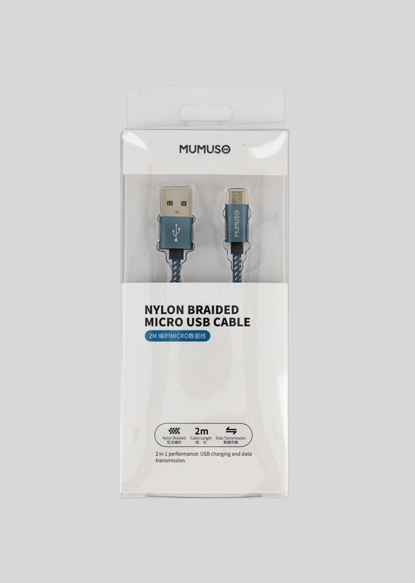 Nylon Braided Micro Usb Cable, Blue