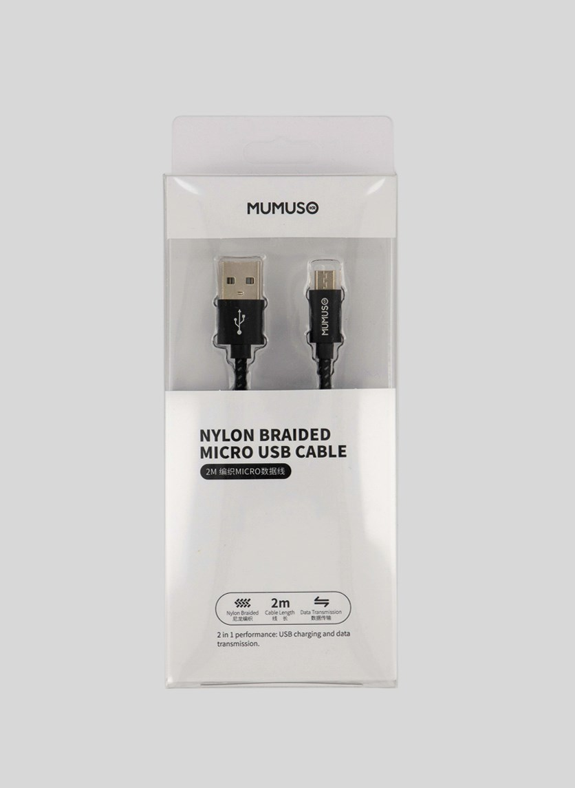 Nylon Braided Micro Usb Cable, Black