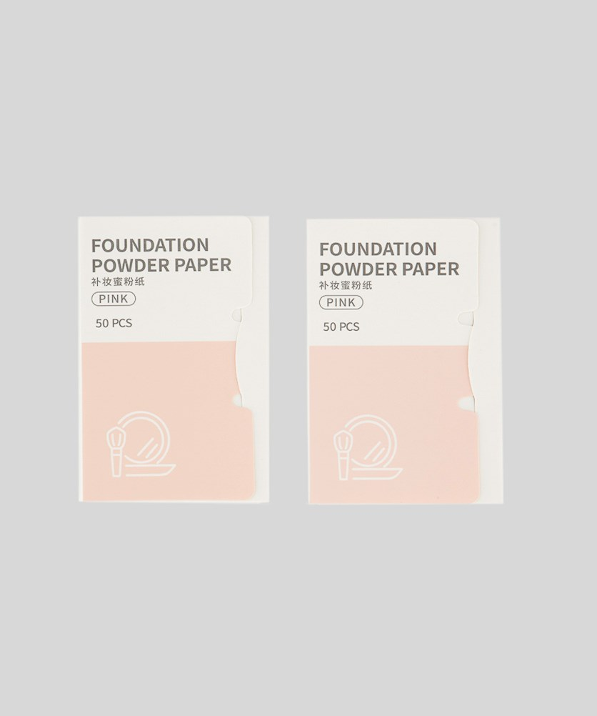 Foundation Powder Paper 50 Pcs, White/Blush