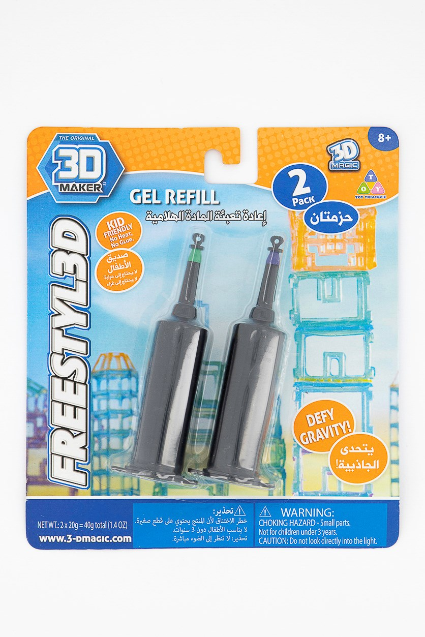 3D Maker Pack of 2 Freestyl 3D Gel Refill, Green/Purple