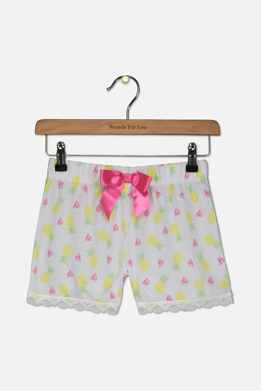Kids Girls Pineapple-Print Pajama Shorts, White