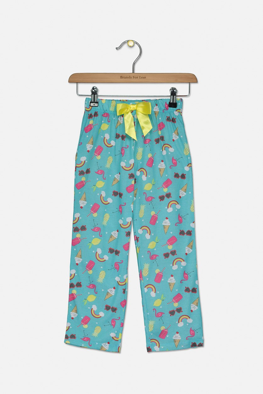 Big Girls Rainbow-Print Pajama Pants, Turquoise