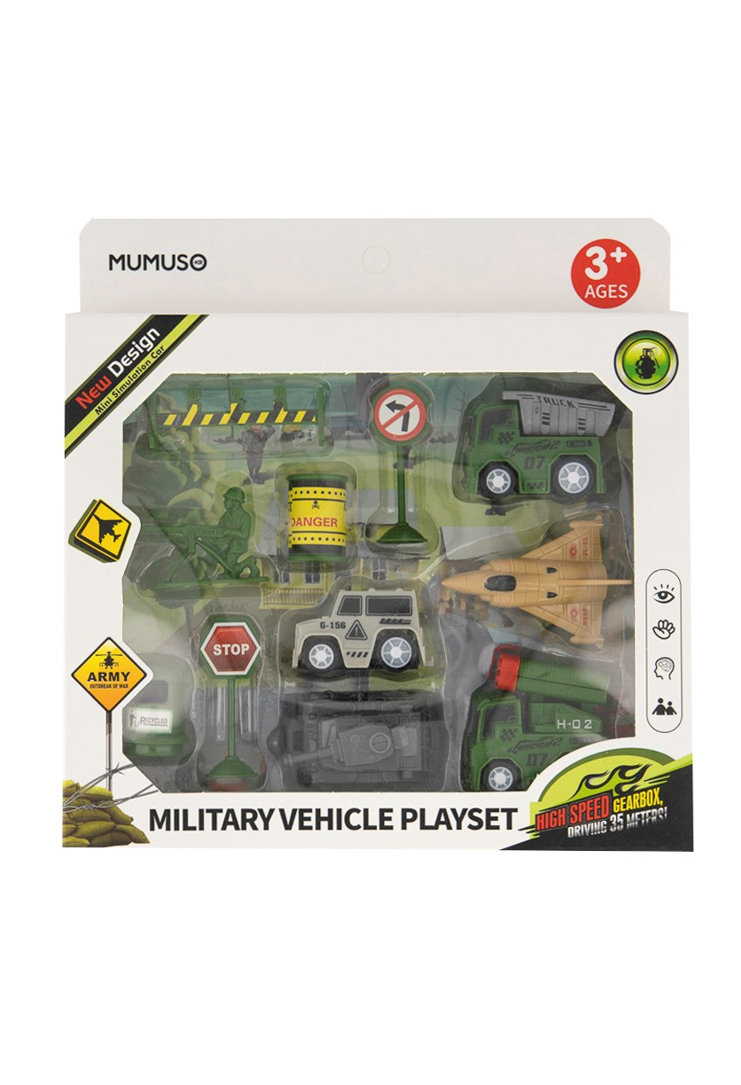 Military Vehicle Playset, Green/Grey/Beige