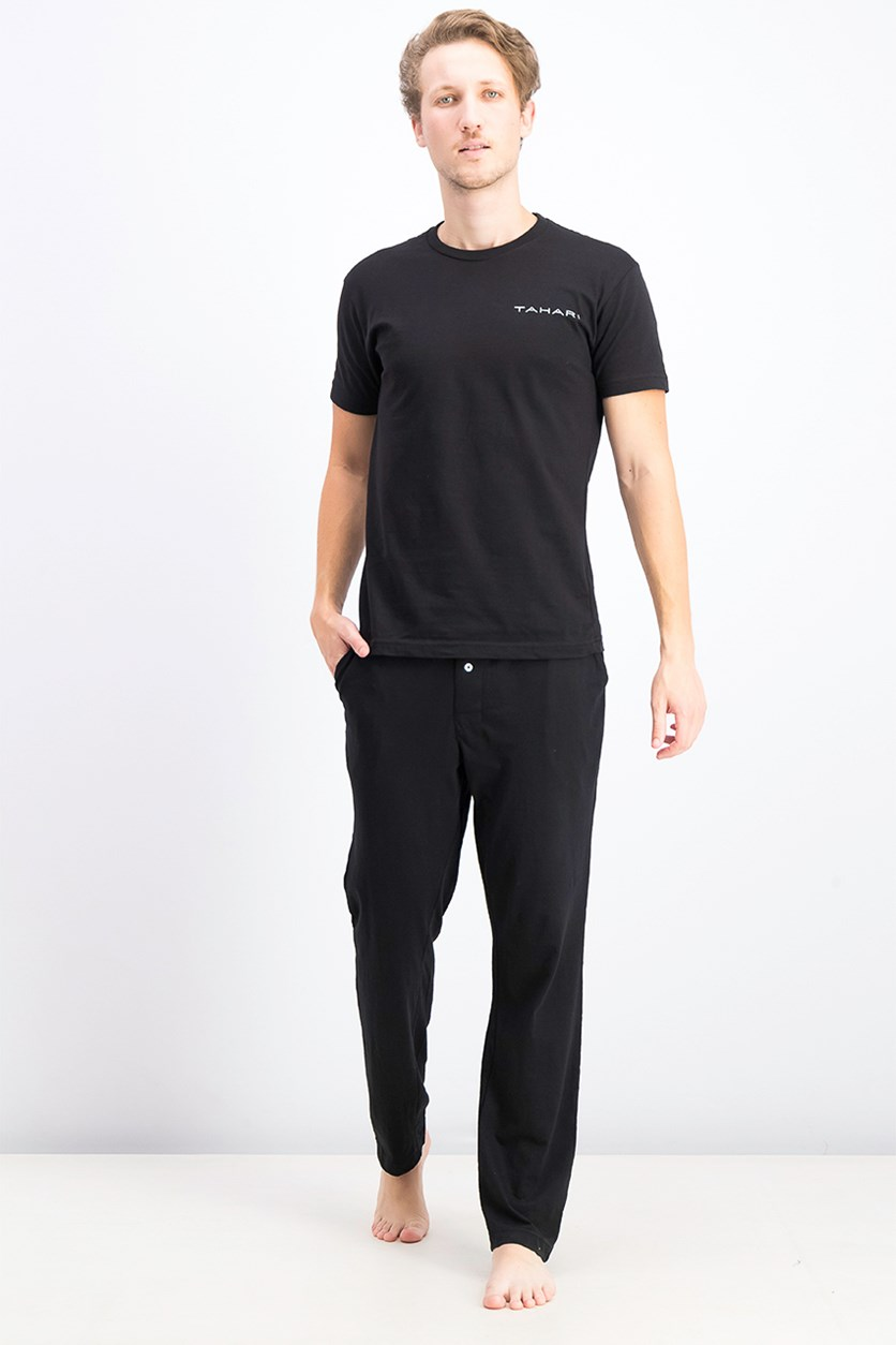 Men's Cotton T-Shirt & Pajama Set, Black