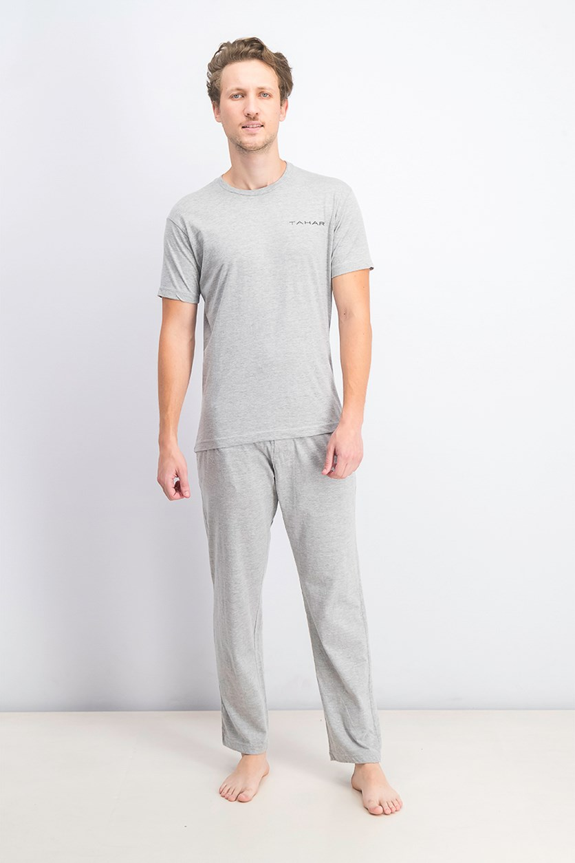Men's Cotton T-Shirt & Pajama Set, Grey