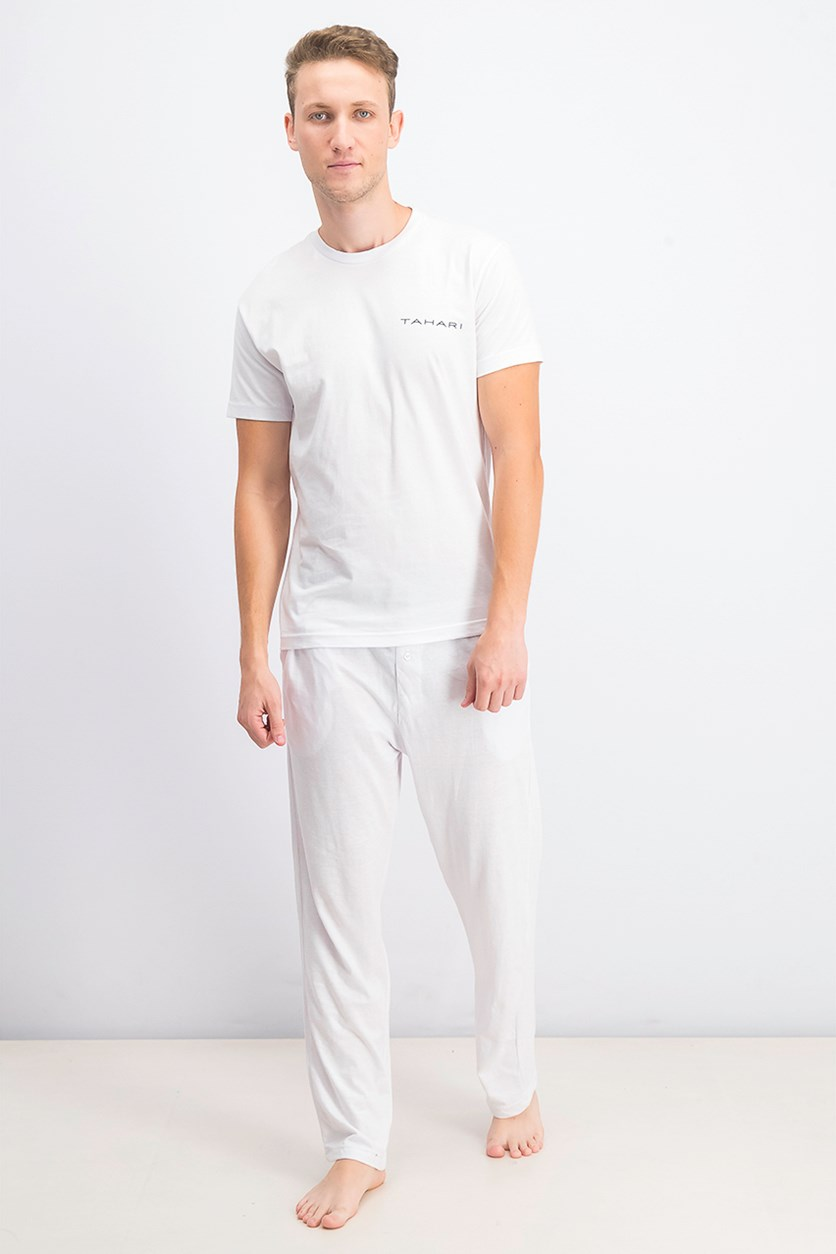 Men's Cotton T-Shirt & Pajama Set, White