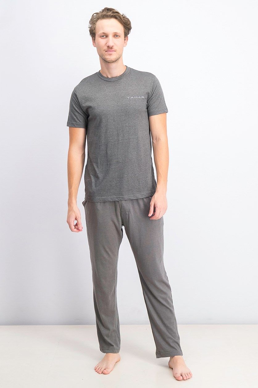 Men's Cotton T-Shirt & Pajama Set, Charcoal