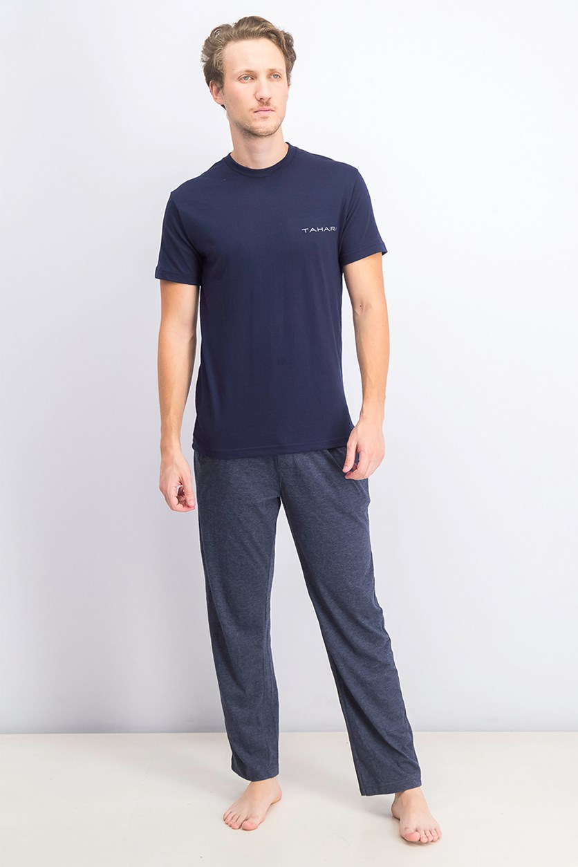 Men's Combed Cotton T-Shirt And Pajama Set, Navy