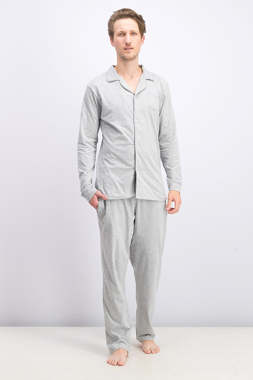Men's Jersey Shirt & Pajama Set, Grey