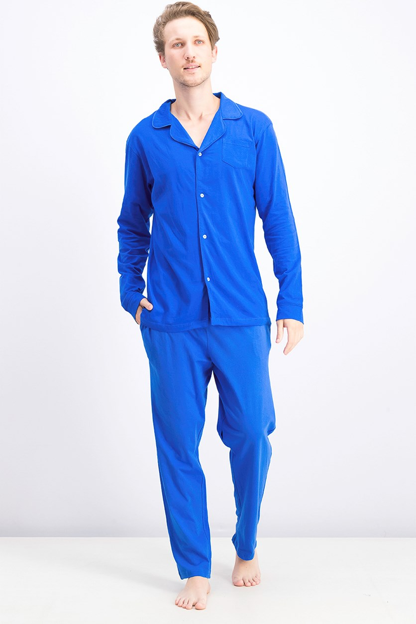 Men's Jersey Shirt & Pajama Set, Blue