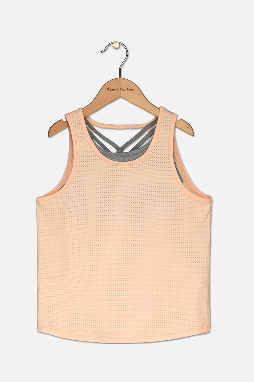 Big Girls Layered-Look Mesh Tank Top, Iced Peach