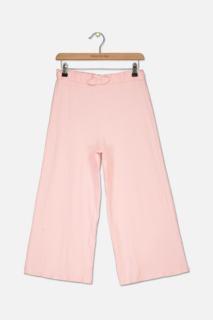 Big Girls Tie-Front Culottes, Crystal Rose