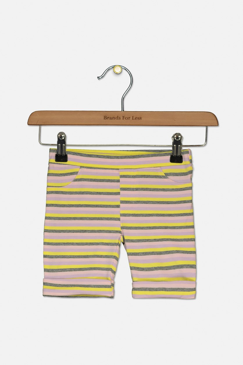 Toddler Girls Stripe Bermuda Short, Crystal Rose
