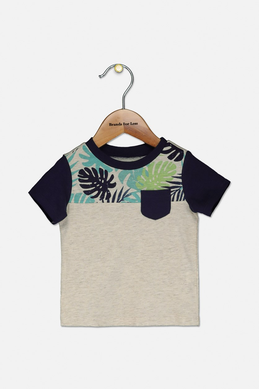 Baby Boys Colorblocked Pocket T-Shirt, Bone Heather