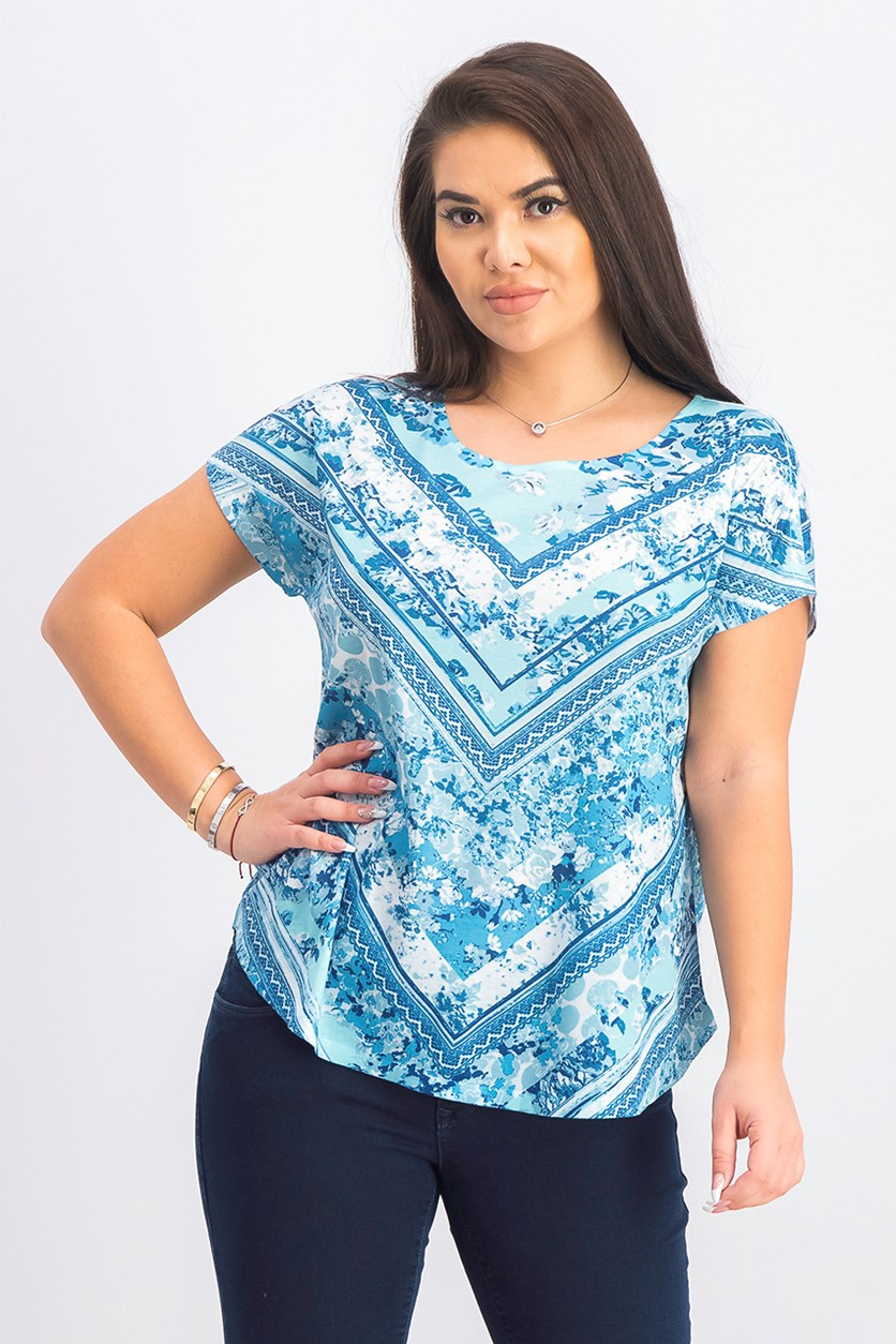 Women's Petite Allover Graphic Print Top, Blue