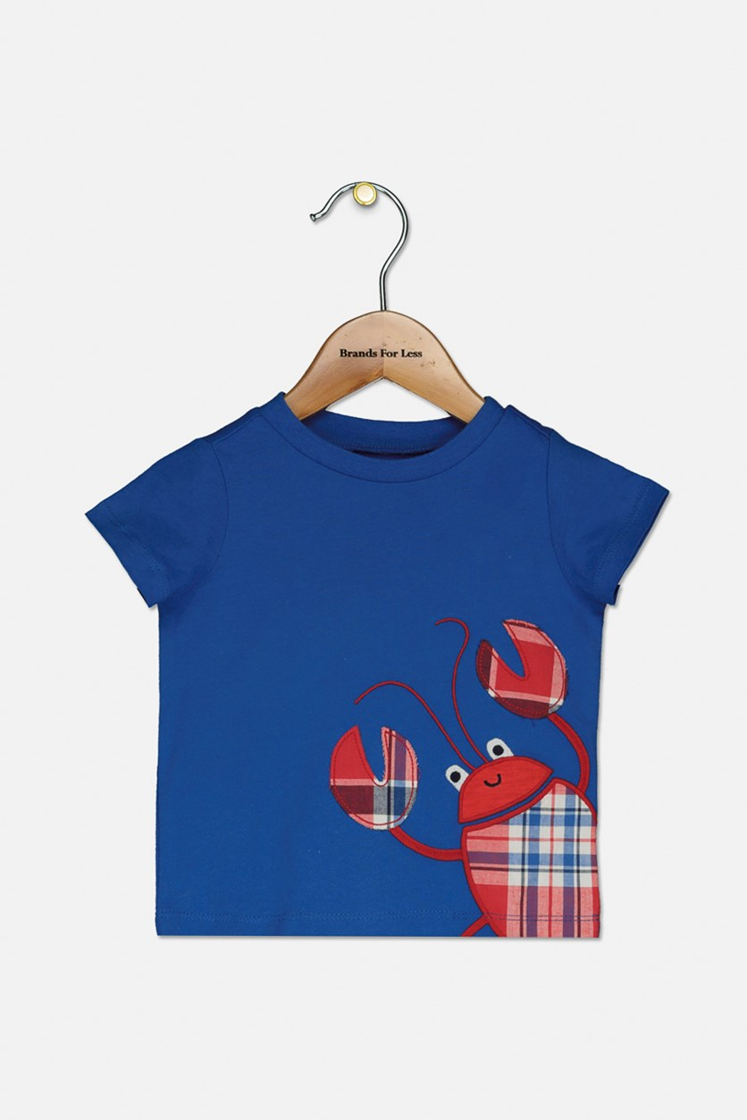Baby Boys Plaid Crab Graphic T-Shirt, Living Stream
