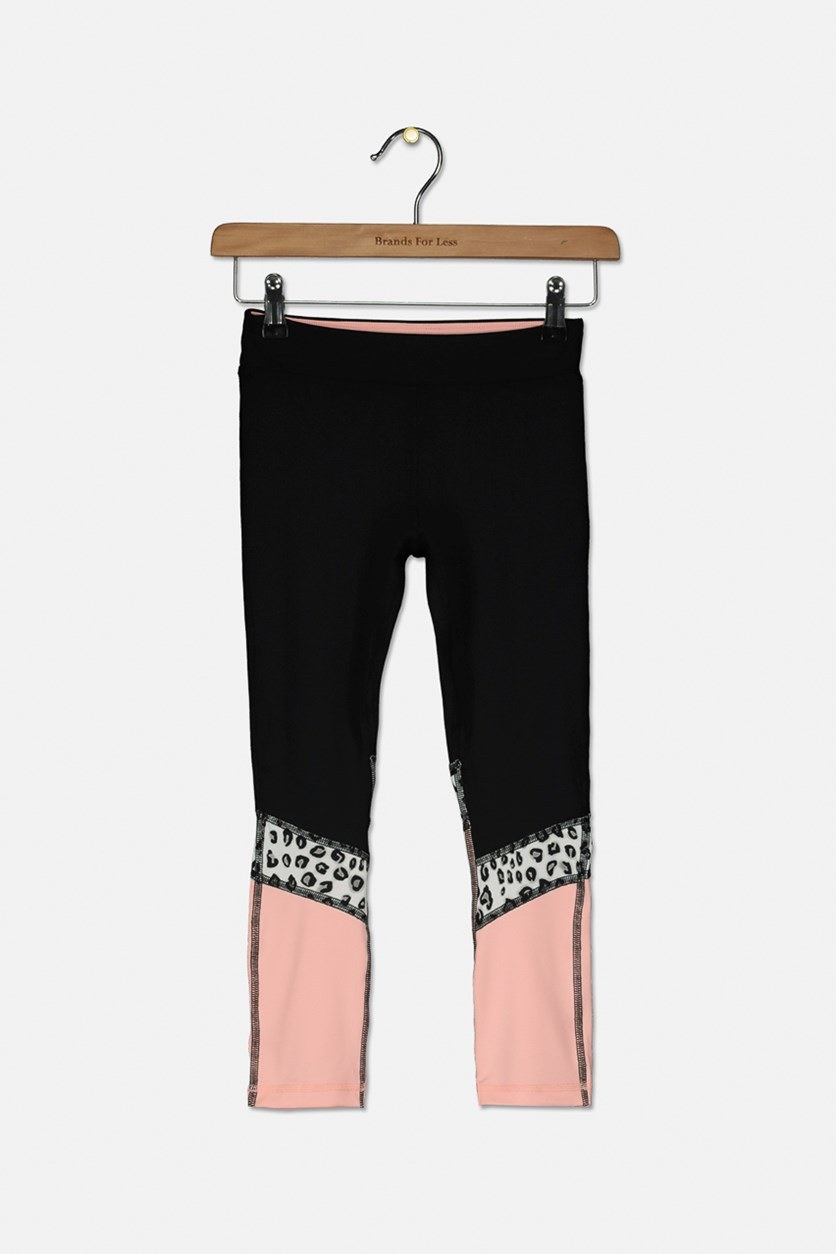 Kids Girls Colorblocked Leggings, Black/Blush