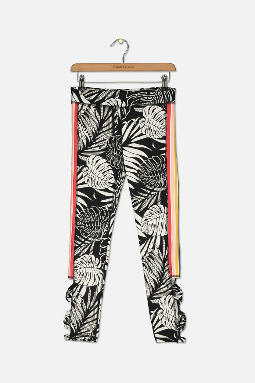 Big Girls Striped Caged Leggings, Floral Black