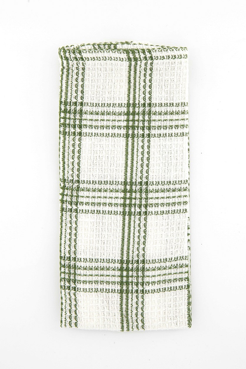 Mabelle Plaid Kitchen Towels, White/Green