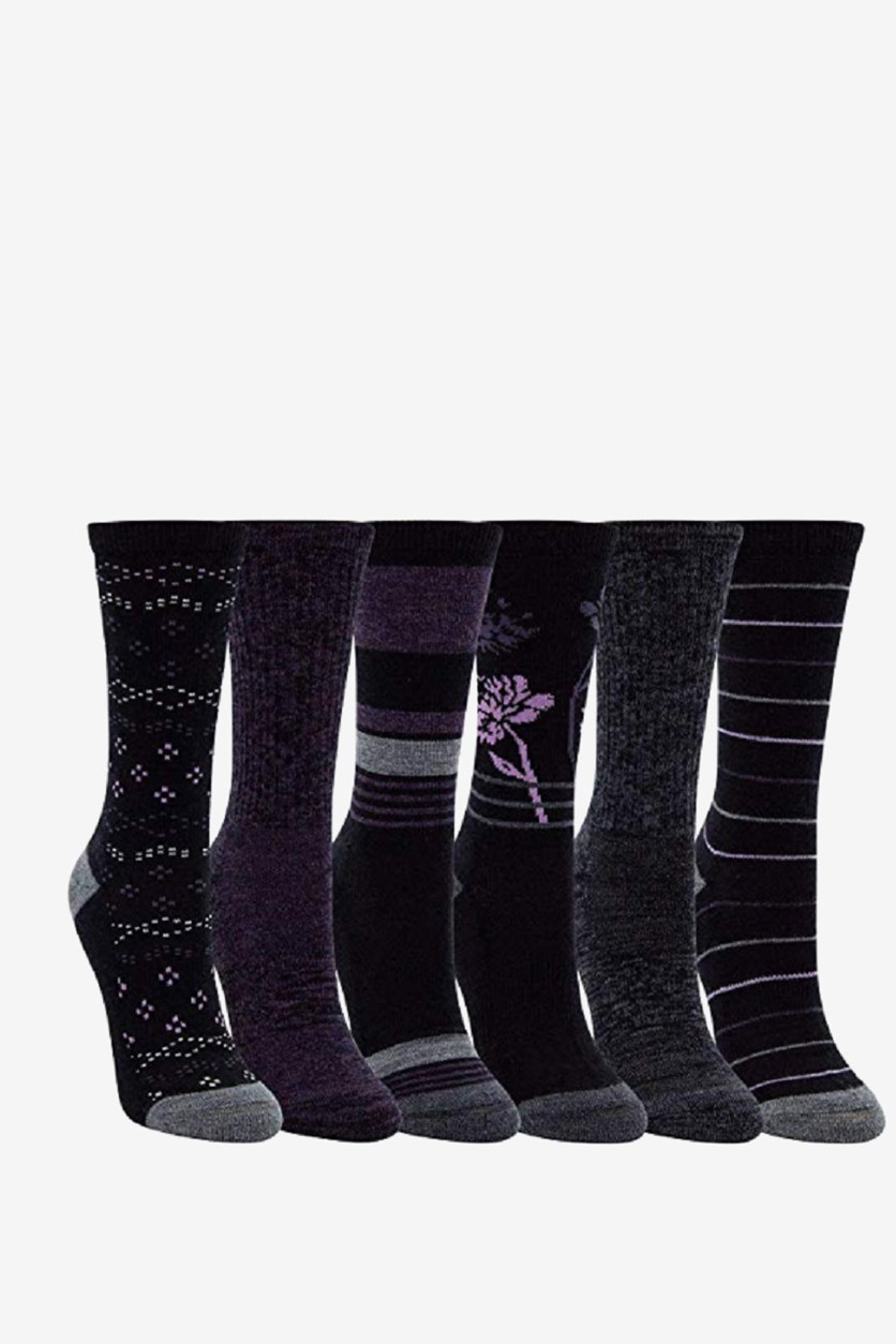 Women's 6-Pack Trail Socks, Black Combo