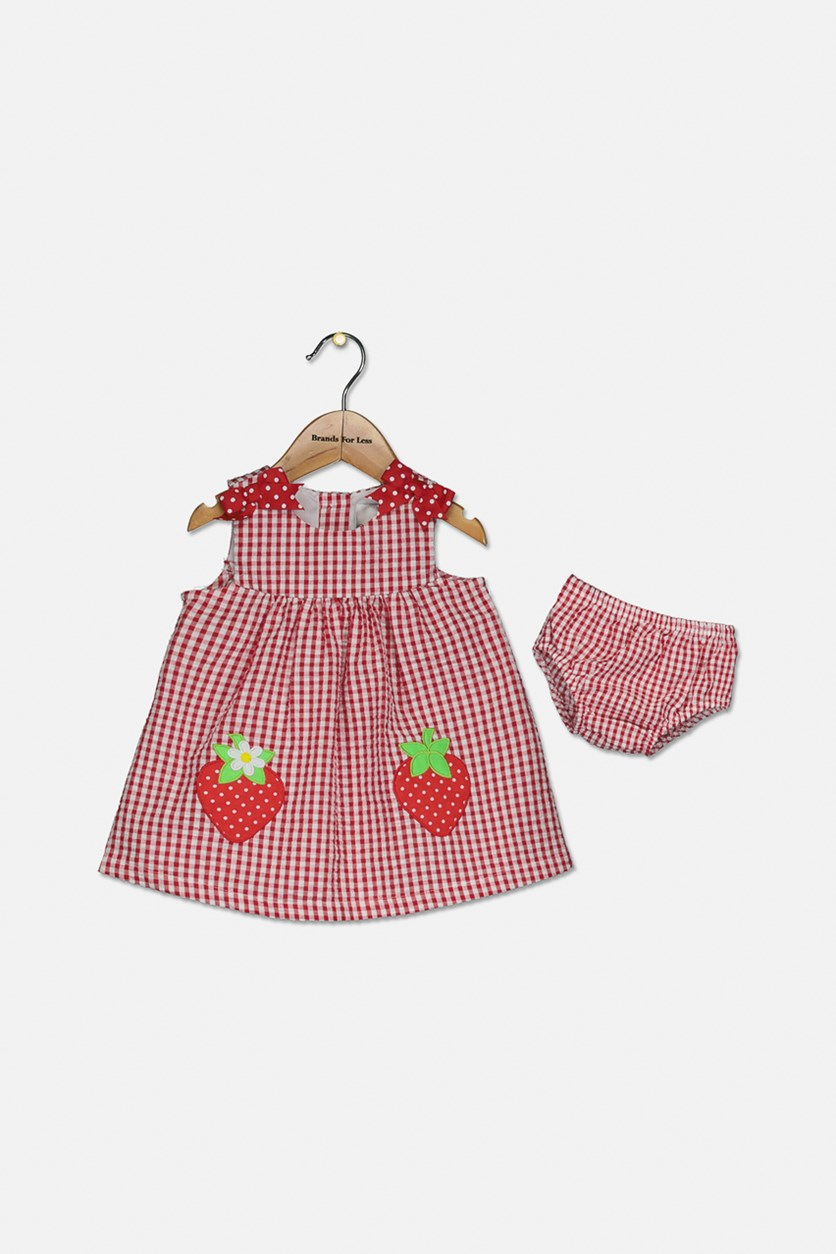 Baby Girls Gingham Strawberry Dress, Red/White