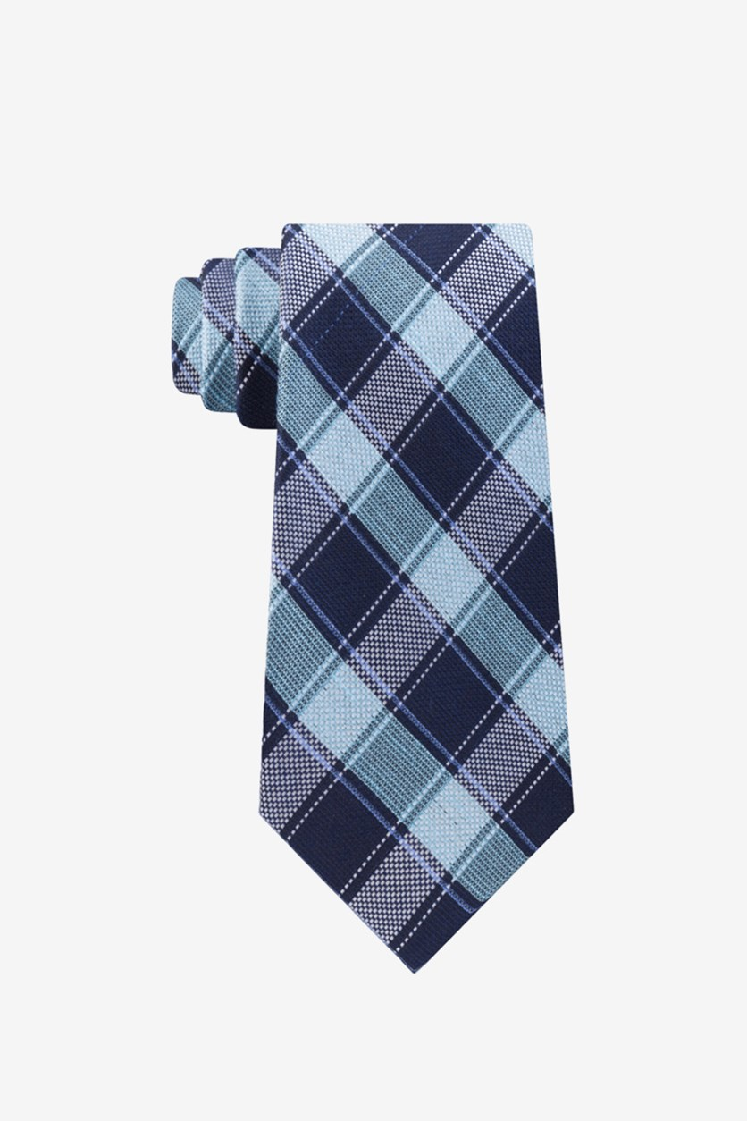 Men's Thin Double Track Check Tie, Blue/Navy Combo