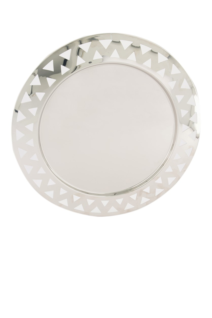 Round Tray with Open-Work Edge in Steel Mirror Polished