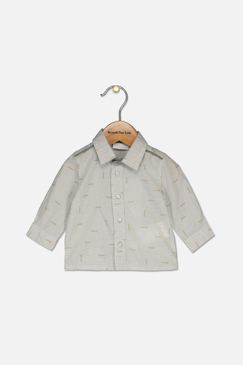 Baby Boys Checkered Shirt, Gray Combo